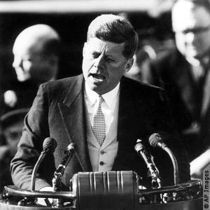 President John F Kennedy delivers his Inaugural Address