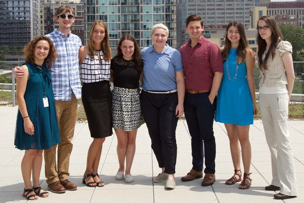 Caitlin Riley (fourth from left) stands with fellow interns from the National Hellenic Museum in Chicago
